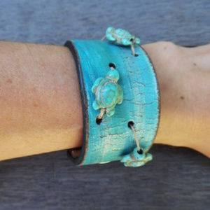 Sea Turtles Beads Hemp Boho Leather Cuff Bracelet